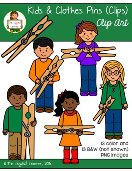 Clip Art: Kids & Clothes Pins (for Clip Card Products)