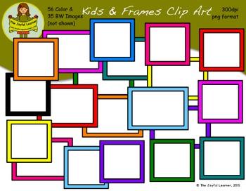 Clip Art: Kids & Frames (56 color & 35 BW Images)