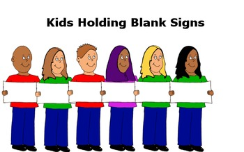 Clip Art- Kids Holding Signs/ Name Tags