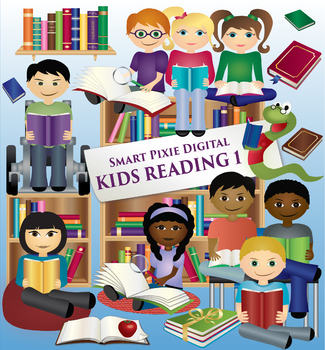 Kids reading books clipart