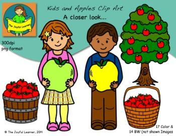 Clip Art: Kids & Apples