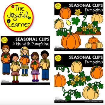 Clip Art: Kids & Pumpkins (including pumpkin parts)