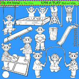 Clip Art Kids at Play in black and white