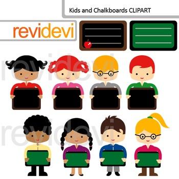 Clip Art Kids holding chalkboard (friends, classmates clipart) boys, girl