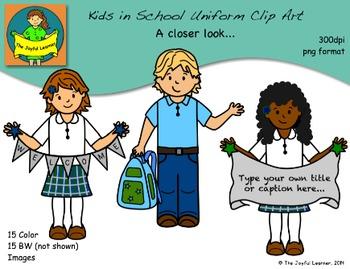 Clip Art: Kids in School Uniform Set