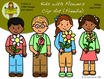 Clip Art: Kids with Flowers (freebie)