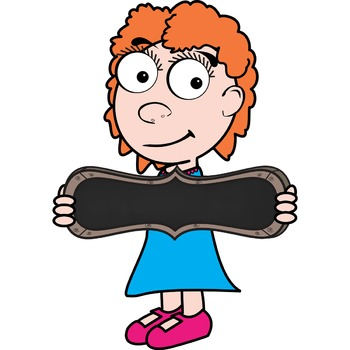 Clip Art - Kids with signs - Chalkboard, whiteboard, & signs with posts