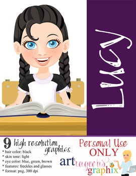 Clip Art - LUCY - female, girl, student, digital graphics