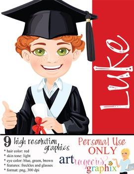 Clip Art - LUKE - male, boy, student, digital graphics - graduation