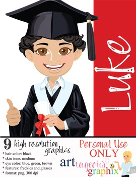 Clip Art - LUKE - male, boy, student, digital graphics - g