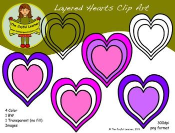 Clip Art: Layered Hearts (freebie)