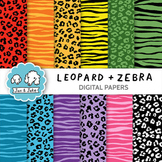Clip Art: Leopard and Zebra Print Digital Papers for Personal and Commercial Use