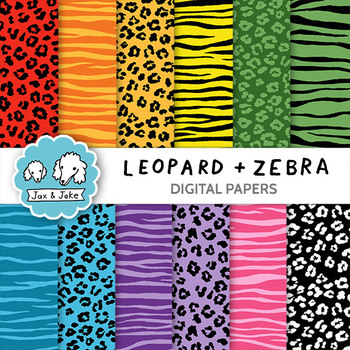Clip Art: Leopard and Zebra Print Digital Papers for Perso