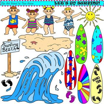 Clip Art Let's Go Surfing