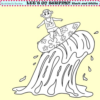 Clip Art Let's Go Surfing in black and white