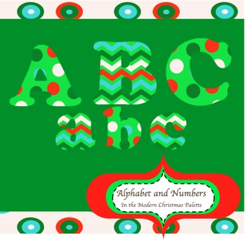 Clip Art Letters & Numbers Modern Christmas Color Palette (personal / commercial