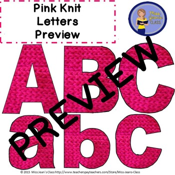 Clip Art Letters With Punctuation - Pink Knit Pattern