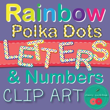 Clip Art - Letters and Numbers Clip Art - {Rainbow Polka D