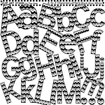 Clip Art Letters and Punctuation Chevron Black, Gray, and White