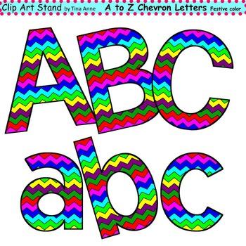 Clip Art Letters and Punctuation Chevron Festive Color