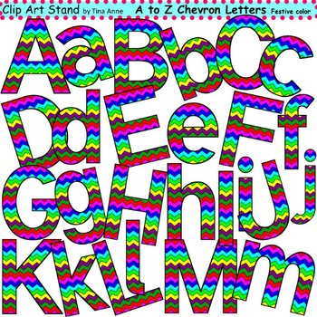 Clip Art Letters and Punctuation Chevron Festive Color