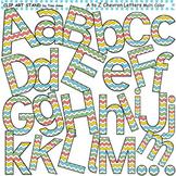 Clip Art Letters and Punctuation Chevron Multi Color