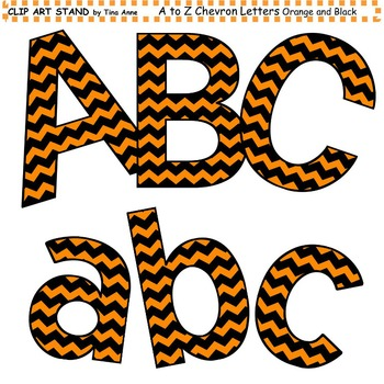Clip Art Letters and Punctuation Chevron Orange and Black