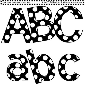 Clip Art Letters and Punctuation Polka Dots Black and White