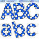 Clip Art Letters and Punctuation Polka Dots Blue and White