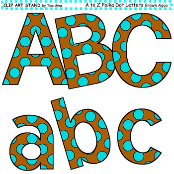 Clip Art Letters and Punctuation Polka Dots Brown and Aqua