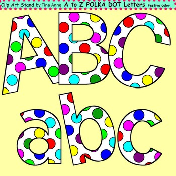 Clip Art Letters and Punctuation Polka Dots Festive Color