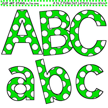 Clip Art Letters and Punctuation Polka Dots Green and White