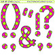 Clip Art Letters and Punctuation Polka Dots Pink and Green