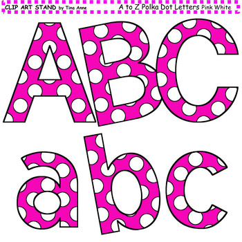 Clip Art Letters and Punctuation Polka Dots Pink and White