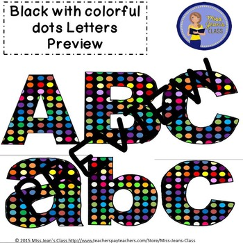 Clip Art Letters with Punctuation- Black With Colorful Polka dots