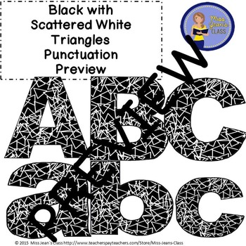 Clip Art Letters with Punctuation- Black With Scattered White Triangles