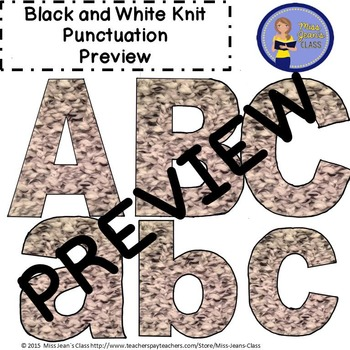 Clip Art Letters with Punctuation - Black and White Knit Pattern