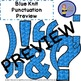Clip Art Letters with Punctuation - Blue Knit Pattern