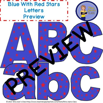 Clip Art Letters with Punctuation- Blue With Red Stars