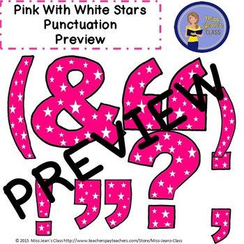 Clip Art Letters with Punctuation- Pink With White Stars