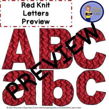 Clip Art Letters with Punctuation - Red Knit Pattern