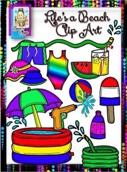 Clip Art~ Life's a Beach Summer Fun Clip Art