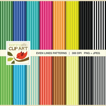 Clip Art: Lines Pattern in bright multi colors - 32 Digita