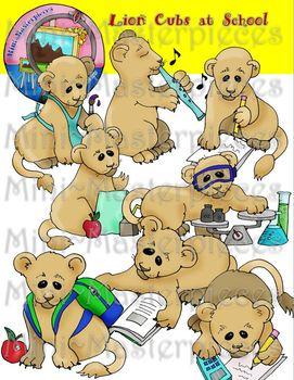 Clip Art: Lion Cubs, Lions, Lioness, Cats at School