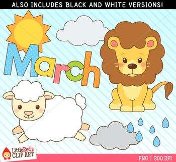 March Clipart - Lion and Lamb