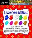 Clip Art--Little Colored Bears