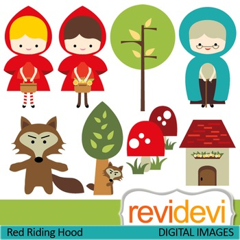 Clip Art: Little Red Riding Hood inspired (girl, wolf)