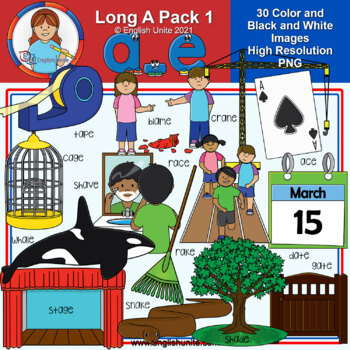 Clip Art - Long A Pack 1 (a-e)