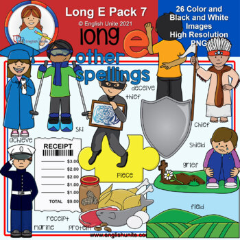 Clip Art - Long E Pack 7 (other spellings)