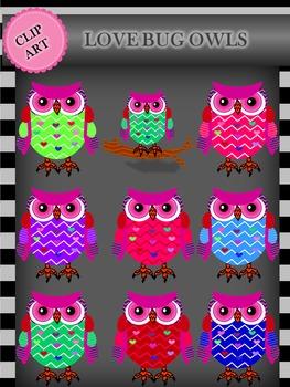 Clip Art:  Love Bug Owls